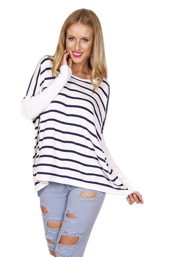 navy stripes navy and white striped sweater striped top oversized sweater long sleeve sweater www.ustrendy.com