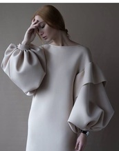 dress,neoprene,ruffle sleeves,truffle,midi dress,crepe dress,big sleeves,unique dress,chique,simple dress