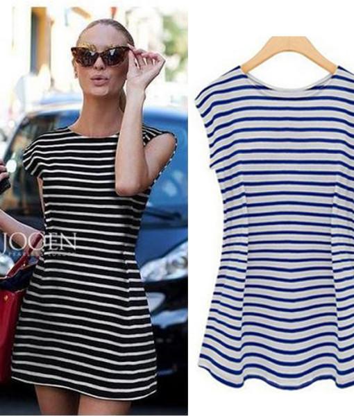 2014 new fashion summer women sexy striped dresses o-neck sleeveless dress Mini Dress vestidos plus size free shipping | Amazing Shoes UK