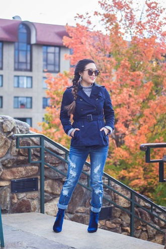 gracefullee made blogger jacket top jeans jewels shoes sunglasses fall outfits blue jacket ankle boots blue shoes