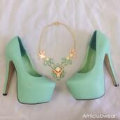 jewels,statement necklace,mint,mint necklace,necklace,shoes