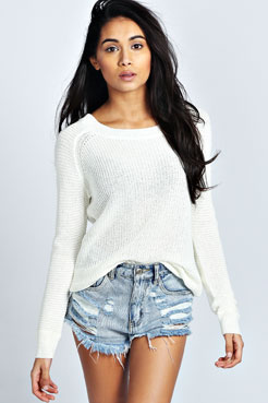 Rhona Rib Sleeve Slouchy Jumper at boohoo.com