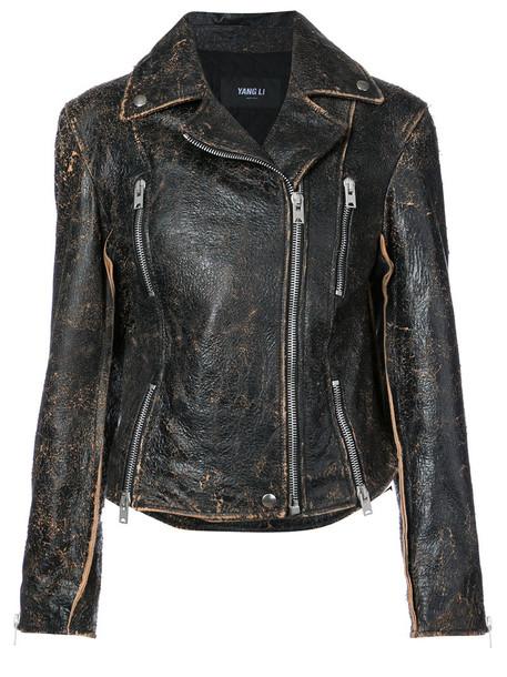 YANG LI jacket biker jacket women black