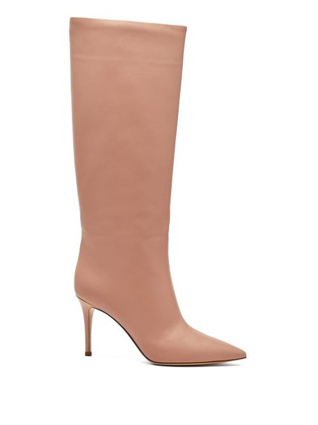 Gianvito Rossi - Suzan Knee High Leather Boots - Womens - Pink Beige
