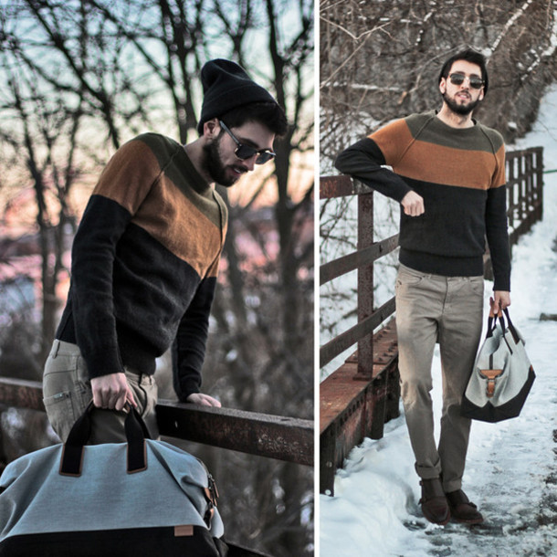 bobby raffin blogger menswear mens sweater striped sweater mens bag mens holdall
