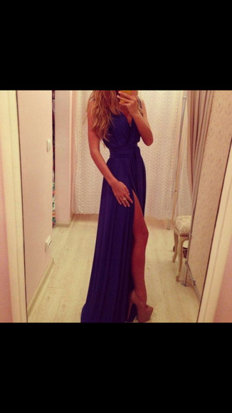 long prom dress slit dress halter dress royal blue dress v neck dresses chiffon dress dress prom dress long prom dress blue blue prom dresses front split dress slit dress split blue dress long evening dresses evening dress blue dress long blue strappy dress
