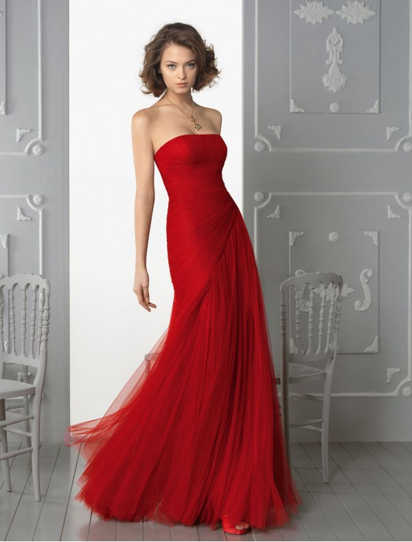 Tulle Strapless Neckline A-Line Evening Dress with Side Gathered Skirt - Special Occasion - RainingBlossoms