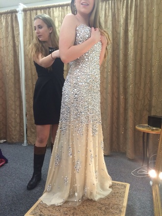 dress apropos nude dress nude style sequin dress jewels prom dress prom gown