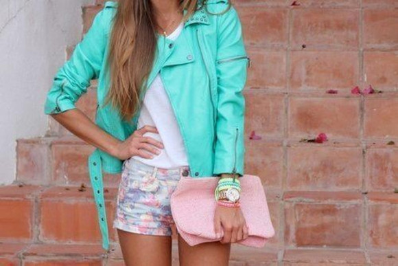 pink bag jacket leather jacket shorts