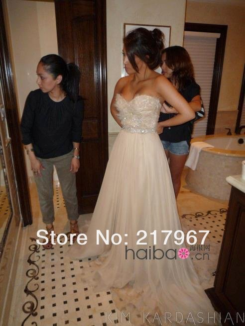 Kim Kardashian Wedding Dresses A line Sweetheart Sleeveless Champagne Tulle Beaded Elegant Wedding Gown 2014-in Wedding Dresses from Apparel & Accessories on Aliexpress.com
