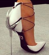 shoes,metal heel white lace black leather,black white spike high,dragon,heels,black,white,claw,silver heel,extravagant,stilettos,high heels,pumps,claw heels,white shoes,skinny heel