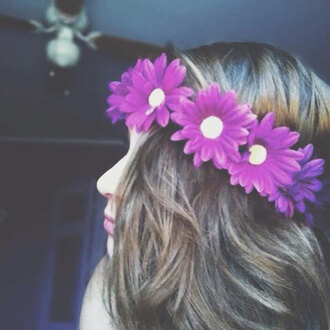 jewels purple daisy flower crown pretty flowers hair accessory hair bow hair band hippie hipster