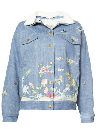 jacket denim jacket denim embroidered women cotton blue wool