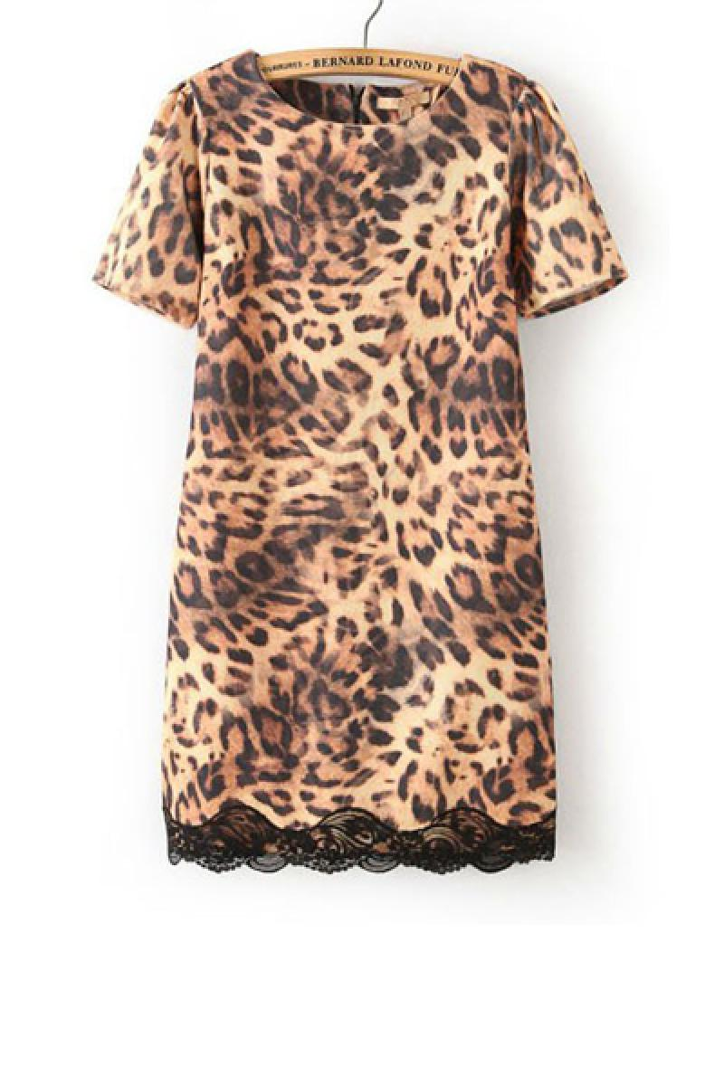 New Leopard Lace Short Sleeve Dress,Cheap in Wendybox.com