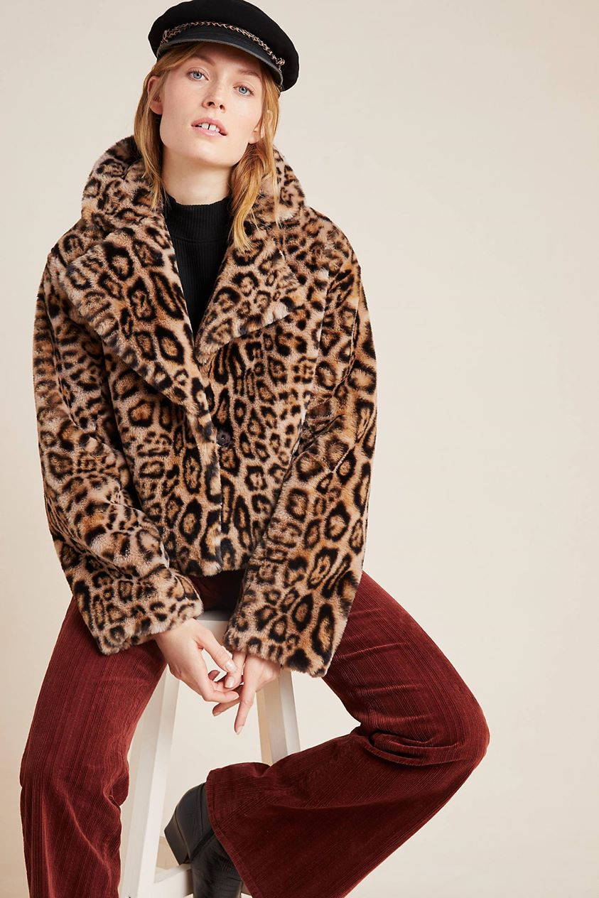 Felina Faux Fur Jacket by Current Air in Beige
