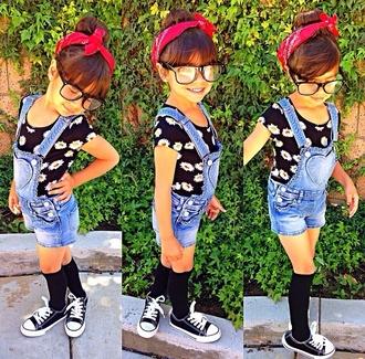 romper top t-shirt shirt floral black shoes converse white denim shorts sunglasses cute fashion