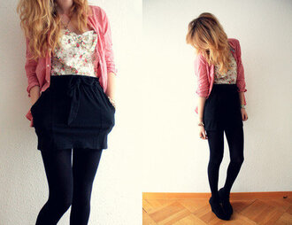 dress black bow skirt floral print top pink sweater