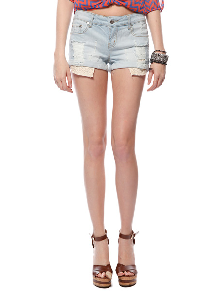 Papaya Clothing Online :: LACE POCKET DENIM SHORTS