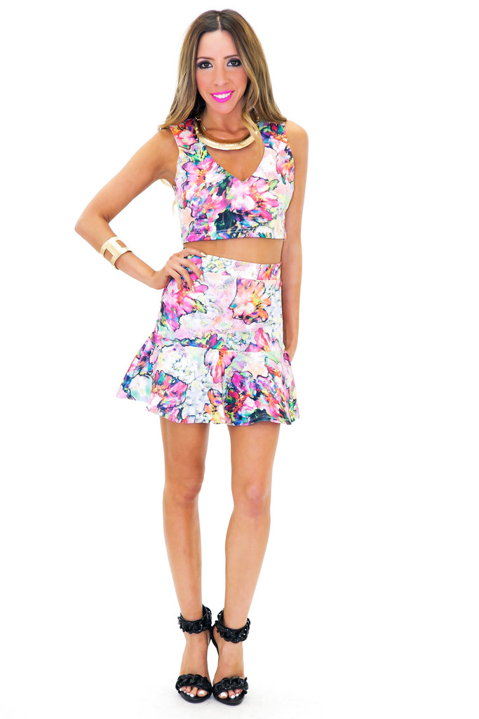 ANSHA WATERCOLOR PEPLUM SKIRT | Haute & Rebellious