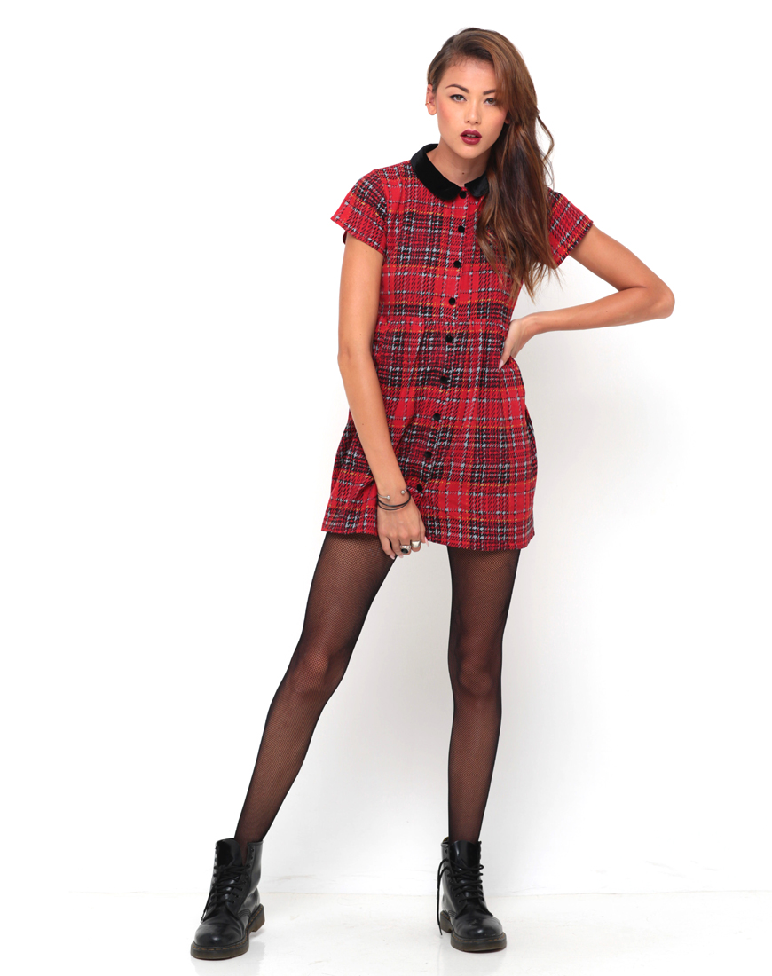 Buy Motel Beatrix Collared Smock Dress in Tartan Red at Motel Rocks