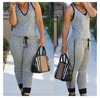 jumpsuit rose wholesale grey streetwear style classy tumblr casual spring spring outfits summer outfits curvy