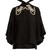 Faux-pearl embellished tie-neck blouse