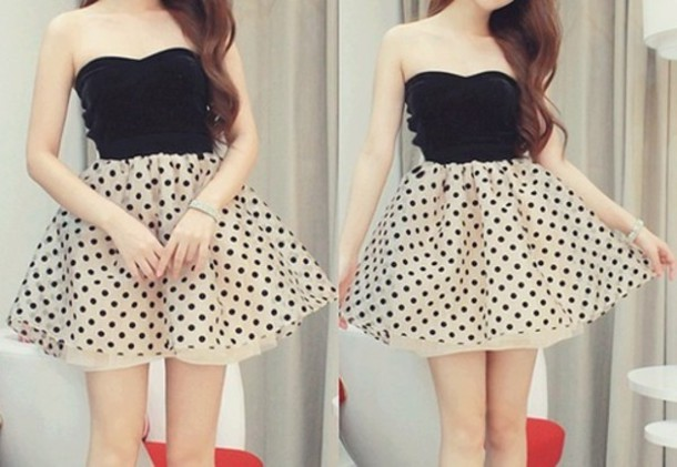 Dress Black Dress Polka Dots Black And White Fit And Flare