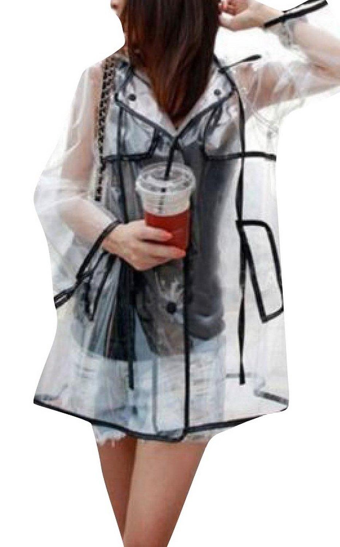 Transparent sexy raincoat womens girls clear waterproof rain coat at amazon women's coats shop