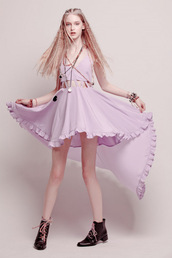 lilac,ruffle,dress,shoes