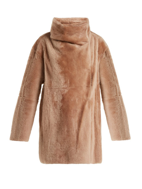 YVES SALOMON High-collar shearling coat in pink