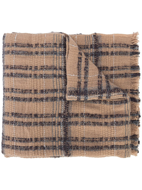 Fabiana Filippi - striped frayed scarf - women - Cashmere/Wool/Alpaca/other fibers - One Size, Brown, Cashmere/Wool/Alpaca/other fibers