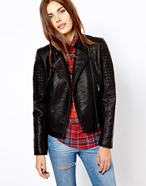 Mango | Mango Quilted Biker Jacket at ASOS