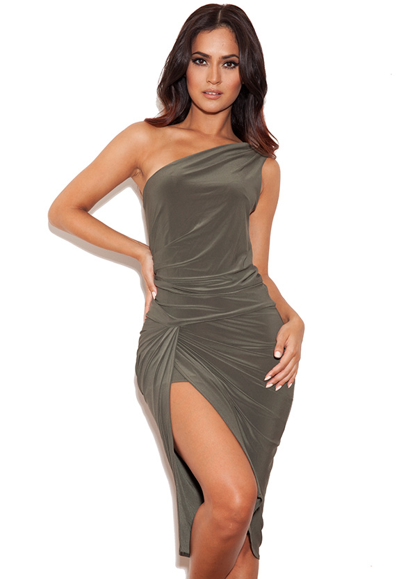 Clothing : bodycon dresses : 'riccarda' khaki one shoulder draped silk jersey dress