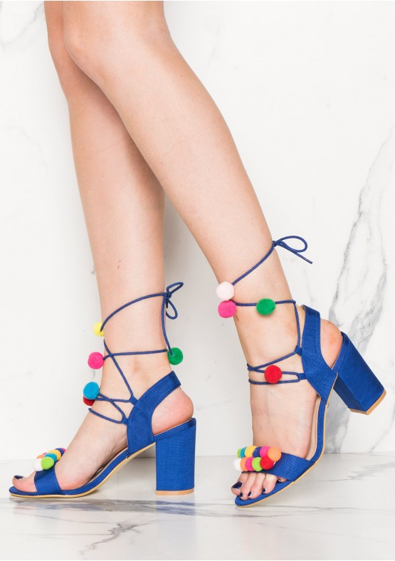 Axelle Blue Pom Pom Detail Lace Up Heel