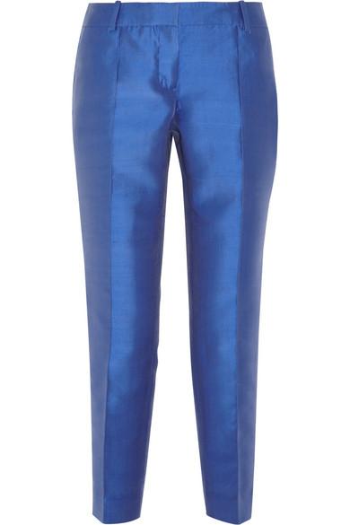 J.Crew|Collection silk-blend shantung straight-leg pants|NET-A-PORTER.COM