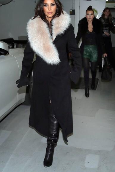 black coat fur fur coat kim long coats long coat white fur kuwtk