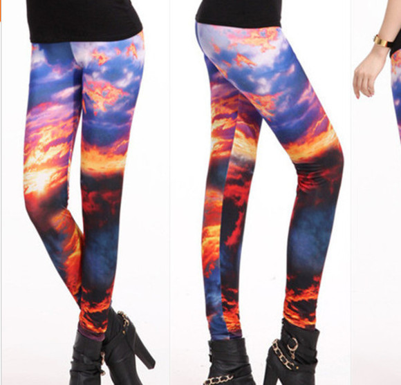 black milk inspired pants leggings clouds printed blue sky sunset red yellow printed leggings Black Milk