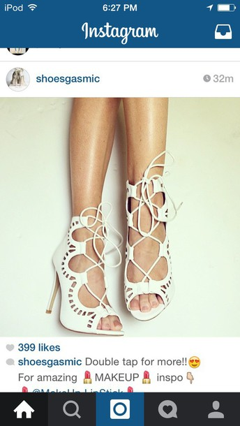 shoes white heels high heels lace up instagram