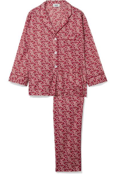 Sleepy Jones floral cotton print red underwear