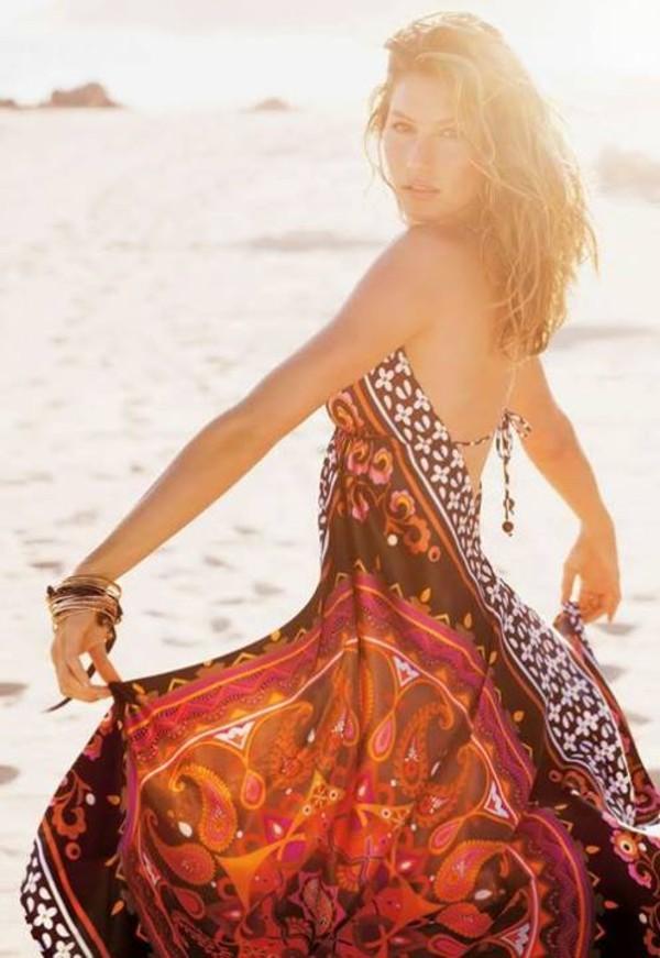 dress gisele bündchen fabric tribal pattern colorful colorful color/pattern dress beautiful fashion