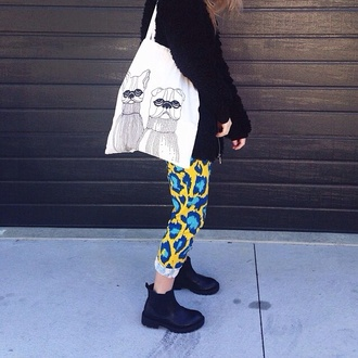 tote bag pants leopard print lime blue colorful amazing animal black boots printed pants