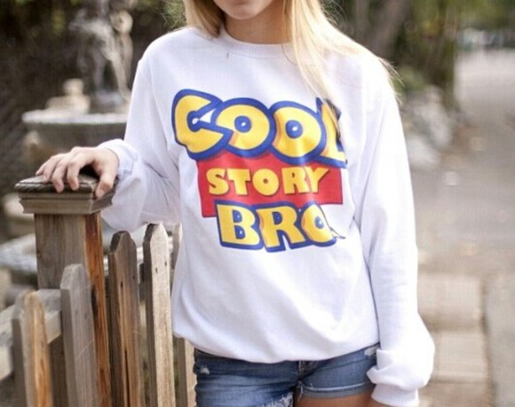 toy story cool story bro clothes grey sweater sweater coolstorybro cool story bro tell it again cool story bro