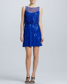Aidan Mattox Boat-Neck Sequined Cocktail Dress - Neiman Marcus