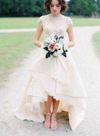 dress lace prom dress high low lace wedding dress beach wedding