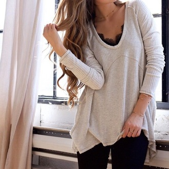 shirt sweater fall outfits long sleeves knitwear fashion style cool trendy warm cozy rose wholesale dec rose wholesale-dec top tan long hair bralette bra lace winter outfits hipster jewelry gold black lace model off-duty lace bralette blouse