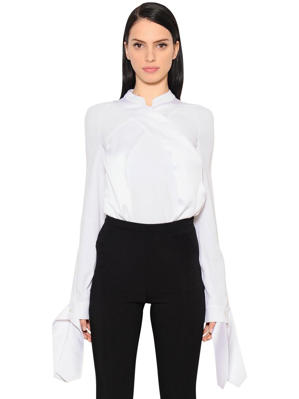 ANTONIO BERARDI Crossover Envers Satin Shirt in white