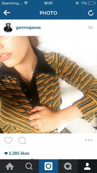 top black yellow stripes green orange button up nice yellow top