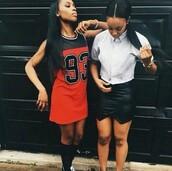 dress,red,black,93,93 jersey,sporty,cute,white,jersey dress,sporty dress,basketball jersey