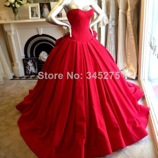 com : Buy Corset chapel train satin ball gown red wedding dress ...