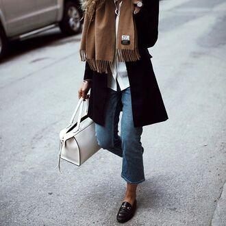 jeans tumblr acne studios bag white bag kick flare denim cropped jeans coat black coat fall outfits shoes black shoes flats black flats gucci gucci loafers loafers winter outfits winter look